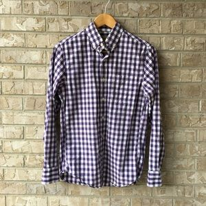 J Crew Washed Shirt In Gingham Purple White XS
